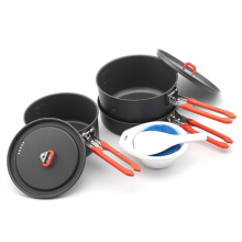 FireMaple FEAST3 Camping Cookware Pot Sets Silver