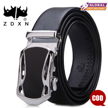 ZDXN Gold and silver sports car automatic buckle belt - Black(120cm)