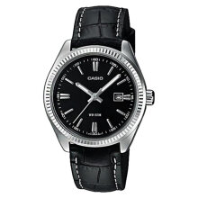Casio LTP-1302L-1AVDF Black Dial Ion Plated Black Leather Strap [LTP-1302L-1AVDF]