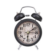 Farfi Retro Alarm Clock Round Number Bell Desk Table Office Home Decor