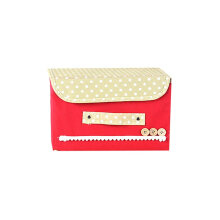 Household Storage Box Foldable Covered Clothing Organizer Wardrobe Container Red