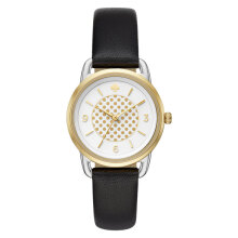 Kate Spade Boathouse White Dotted KSW1162 White Dial Black Leather Strap [KSW1162]