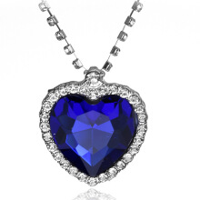 SESIBI Crystal Pendant Heart Necklace Classic Titanic Ocean Crystal Heart Pendant Necklace Rhinestone Lover Gift - Blue Gems
