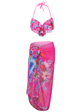 Sexy Halter Backless Flower Printing High Waist Bathing Three Pieces Swimwear For Women Rose M