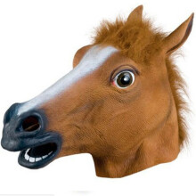 Real Bubee Horse Head Mask Halloween Animal Costume Theater Prop Adult Party Supplies  - Light Brown