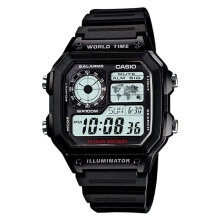 Casio AE-1200WH-1AVDF - 10 Year Battery - Water Resistance 100M Black Resin Band [AE-1200WH-1AVDF]