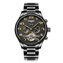 COZIME KINYUED Men Mechanical Watch 30m Waterproof Automatic Calendar Business Black Band Black Dial