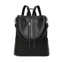 YOOHUI PB9 Leather ladies backpack simple casual bag medium backpack girls daily bag Hitam