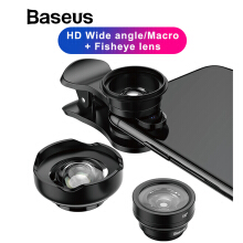 Baseus Phone Lens Wide Angle + Fish Eye + 15X Macro Camera For iPhone X 8 7 6S Plus Samsung S9 Xiaomi Zoom Lens Selfie Lens