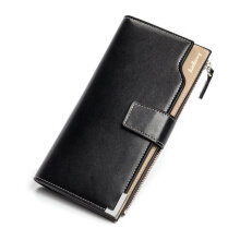 [COZIME] Men Soft PU Leather Long Style Wallet Zipper Type Money Credit Cards Organizer Black