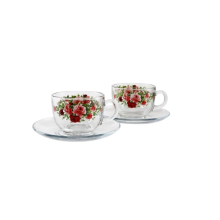 BRILIANT Cup and Saucer GM0804 Set of 4 - Summer Time Red