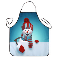 Christmas Snowman Print Waterproof Kitchen Apron Turquoise Blue