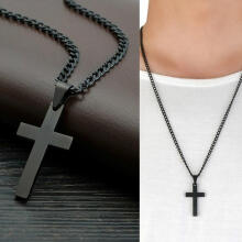 Farfi Stainless Steel Cross Pendant Men Women Chain Necklace Religious Jewelry Gift Black