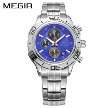 PEKY Megir MS2019G Business Quartz Watch Stainless Steel Men Watches Multifunction Calendar Wristwatch