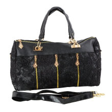 [LESHP]Women PU Leather Lace Messenger Bag Large Capacity Tote Shoulder Handbag Black