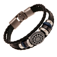 Fashionmall Handmade Genuine Leather Bracelets for Men Black
