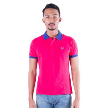 Authentic Fred Perry Men UnderCollar Sorbet Pink/Blue Polo Shirt S
