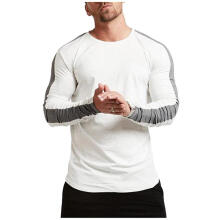 New fashion men's trend stitching round neck long-sleeved T-shirt-White-XXL