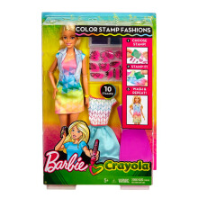BARBIE Crayola Color  Stamp & Style Fashion Doll FRP05