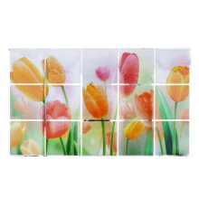 [kingstore] 75*45cm Flower Pattern Wall Paper Waterproof Sticker Oil Proof Kitchen Decor Multicolor   single layer