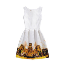 SESIBI Size 130~140 Girls Dresses Children Printing Wear Teen Summer Casual Clothes - Bustling City