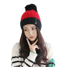 SiYing fashion winter two-tone women's plus velvet warm knitted wool ball cap