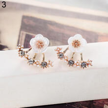 Farfi Cute Daisy Flower Shiny Rhinestone Ear Jacket Stud Earrings Women Girl Jewelry