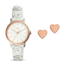Fossil Neely - Neutral Grey Round Dial 34mm - Leather - Neutral Grey - Jam Tangan Wanita - ES4383SET