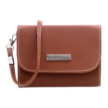 [LESHP]Mini New Fashion PU Leather Mobile Phone Case Cover Bag Pouch Crossbody brown
