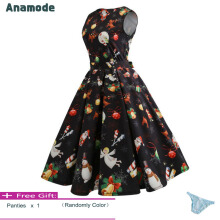 Anamode Women Christmas Party Dresses Print Big Swing Dress Sleeveless Clothes -Black -