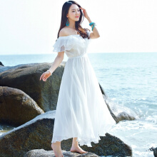 Allgood Fashion Bohemia Summer Holiday women Beach Dress Tube Top Chiffon Lady Off Shoulder Maxi White Wedding Dresses