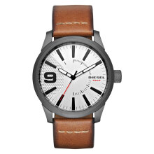 Diesel Rasp DZ1803 Men Watch White Dial Brown Leather Strap [DZ1803]