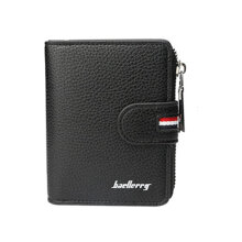 [kingstore]Baellerry Casual Zipper Men Wallet Leather Purse Hasp Credit Cards Holder Bag Black