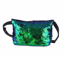 [LESHP]Double Sided Women Waist Bag Sequin Casual Sports Crossbody for Female Green