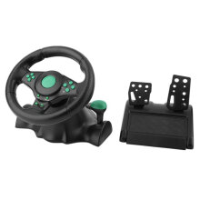 [OUTAD] 180 Degree Rotation ABS Gaming Vibration Racing Steering Wheel With Pedals Black & Green