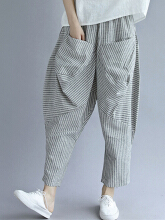 Elastic Waist Loose Stripe Casual Harem Pants With Pockets Grey One Size