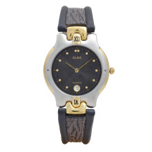 ALBA Jam Tangan Pria - Black Silver Gold - Leather Strap - AXBH28