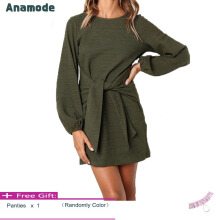 Anamode Sexy Lantern Sleeves Dresses Women Package Hips Dress Bandage Gown -Green -