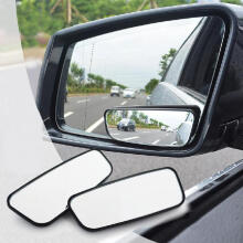 Farfi 1Pair 360 Degree Rotate Adjustable Car Blind Spot Wide Angle Auxiliary Mirror Black