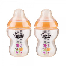 [free ongkir]Tommee Tippee Closer to Nature 2 Decorated Bottle With Slow Flow 0m+ 260ml - Orange