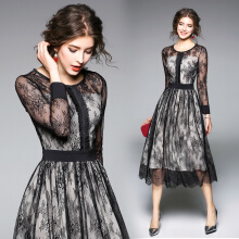 Spring New European Women Dress Fashion Slim Long-sleeved Lace Dress A Line Elegant Casual Party Dresses