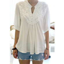 Women V-neck Chiffon Tops Hollow Out Shirt Casual Blouse Solid Color white M