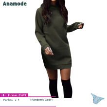 Anamode Winter Plus Velvet Thickening Dresses Women Warm Mini Dress Long Sleeve -Green -