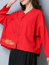 Zanzea 0051Plus Size Vintage Women Batwing Sleeve Embroidery Pockets Blouse  Red L