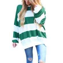BESSKY Womens Sexy Striped Print Long Sleeve Fashion Blouse Tops Shirt_