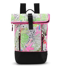 Sakroots Nylon Roll Top Backpack Neon Wild Life