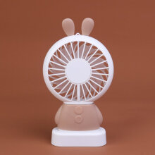 Home Office Handheld Rabbit Fan USB Charging Fan With Desk Base For Student pink