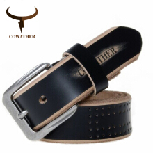 COWATHER high quality cow genuine leather luxury strap male belts for men new fashion style pin buckle