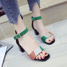 Mixed Color Open Toe Ankle Strap Sandals Pumps Green 39