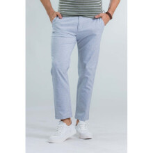 Yishion Woven Low Waist Straight Ankle Length Pants (Slim Fit) - Men - 01 Grey